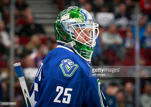 Jacob Markstrom of the Vancouver Canucks looks on from his crease during their NHL game against the Winnipeg Jets at Rogers Arena March 14 2016 in...