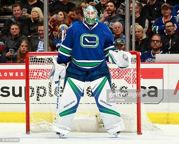 Jacob Markstrom of the Vancouver Canucks looks on from his crease during their NHL game against the Buffalo Sabres at Rogers Arena October 20 2016 in...