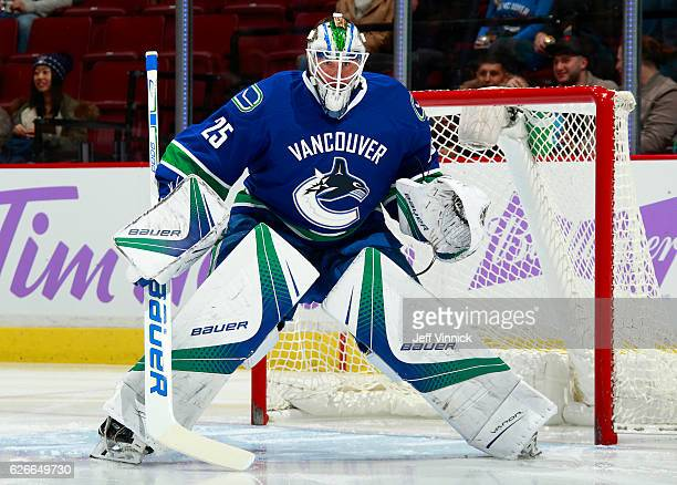 Jacob Markstrom of the Vancouver Canucks looks on from his crease during their NHL game against the Arizona Coyotes at Rogers Arena November 17 2016...