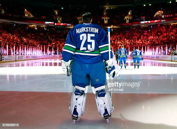 Jacob Markstrom of the Vancouver Canucks looks on from his crease during their NHL game against the Chicago Blackhawks at Rogers Arena November 19...