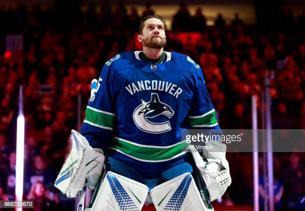Jacob Markstrom of the Vancouver Canucks looks on from his crease during their NHL game against the Winnipeg Jets at Rogers Arena October 12 2017 in...