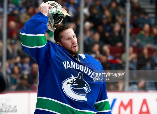 Jacob Markstrom of the Vancouver Canucks looks on from his crease during their NHL game against the Dallas Stars at Rogers Arena October 30 2017 in...