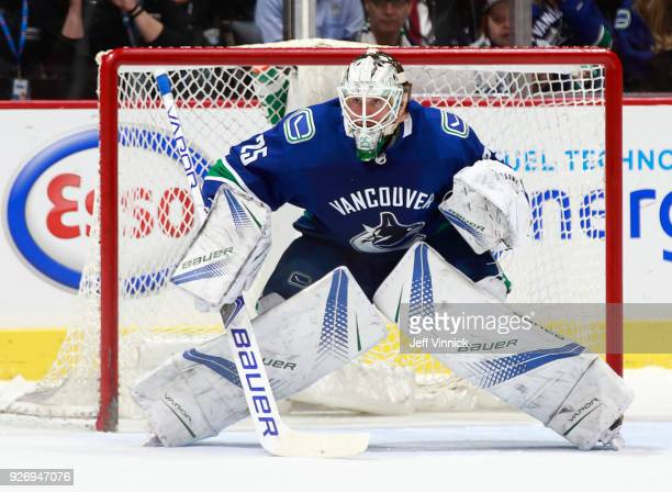 Jacob Markstrom of the Vancouver Canucks looks on from his crease during their NHL game against the New York Rangers at Rogers Arena February 28 2018...