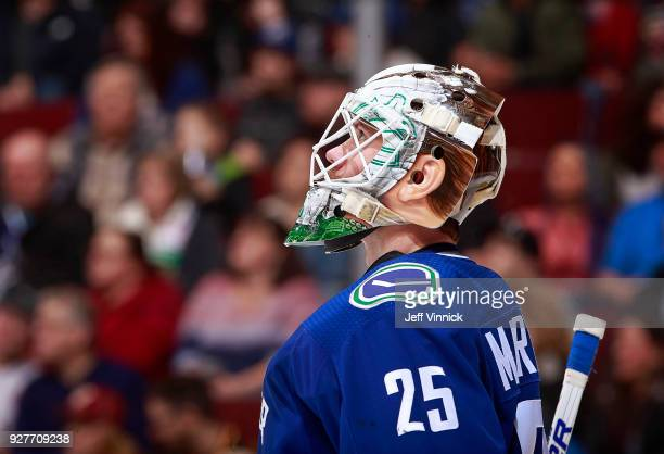 Jacob Markstrom of the Vancouver Canucks looks on from his crease during their NHL game against the Tampa Bay Lightning at Rogers Arena February 3...