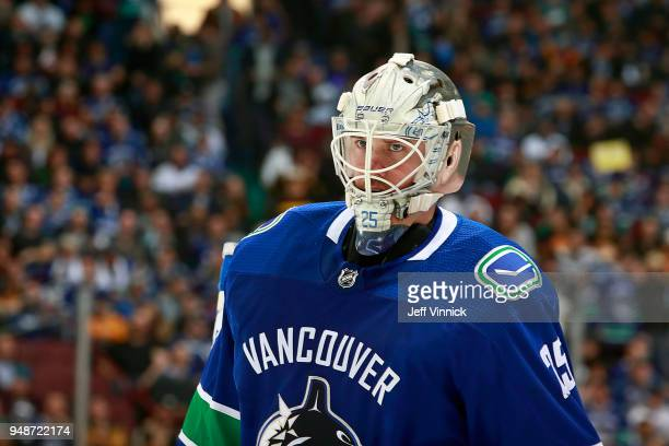 Jacob Markstrom of the Vancouver Canucks looks on from his crease during their NHL game against the Arizona Coyotes at Rogers Arena April 5 2018 in...