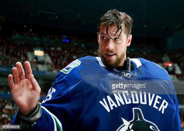 Jacob Markstrom of the Vancouver Canucks looks on from the bench during their NHL game against the Dallas Stars at Rogers Arena October 30 2017 in...