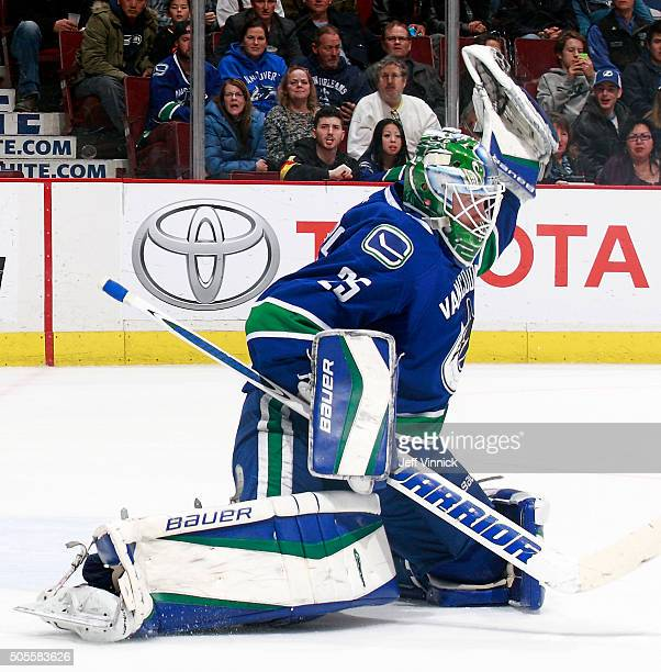 Jacob Markstrom of the Vancouver Canucks makes a glove save during their NHL game against the Tampa Bay Lightning at Rogers Arena January 9 2016 in...
