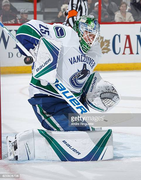 Jacob Markstrom of the Vancouver Canucks makes a save against the Ottawa Senators at Canadian Tire Centre on November 3 2016 in Ottawa Ontario Canada