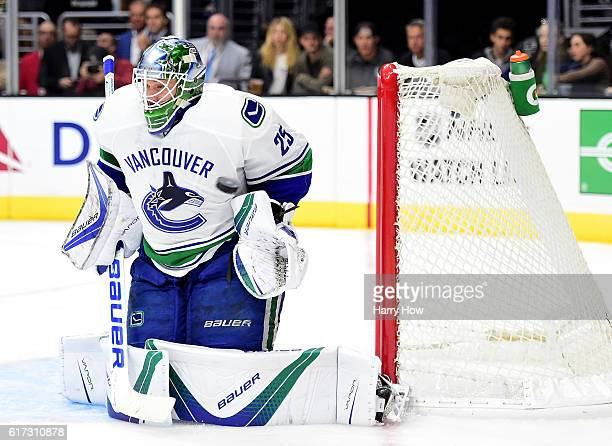 Jacob Markstrom of the Vancouver Canucks makes a save during the second period against the Los Angeles Kings at Staples Center on October 22 2016 in...