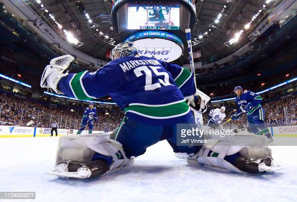 Jacob Markstrom of the Vancouver Canucks makes a save during their NHL game against the Toronto Maple Leafs at Rogers Arena March 6 2019 in Vancouver...