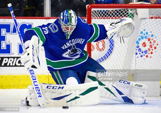 Jacob Markstrom of the Vancouver Canucks makes a save during their NHL game against the New Jersey Devils at Rogers Arena March 15 2019 in Vancouver...