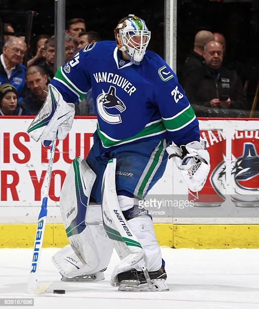 Jacob Markstrom of the Vancouver Canucks plays the puck during their NHL game against the New Jersey Devils at Rogers Arena January 15 2017 in...
