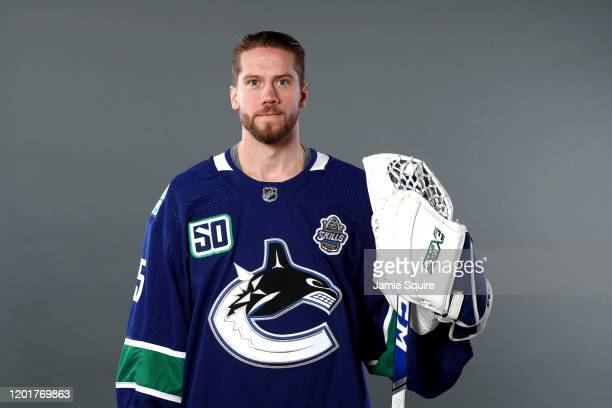 Jacob Markstrom of the Vancouver Canucks poses for a portrait ahead of the 2020 NHL AllStar Game at Enterprise Center on January 24 2020 in St Louis...