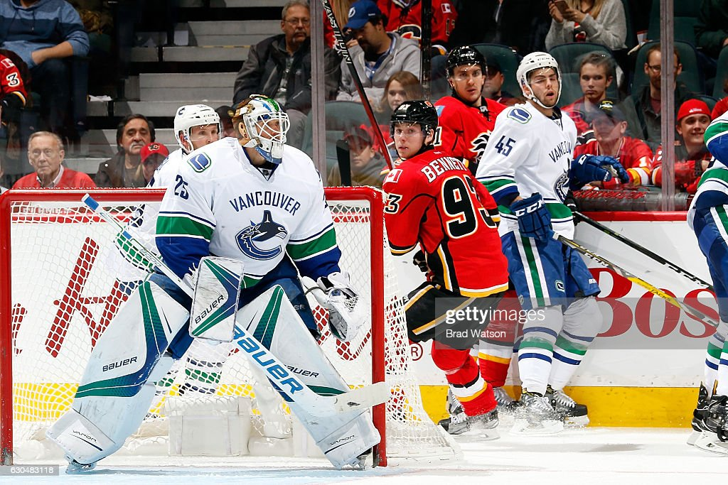Jacob Markstrom #25 of the Vancouver Canucks skates in net against the Calgary Flames during an NHL game on December 23, 2016 at the Scotiabank Saddledome in Calgary, Alberta, Canada.