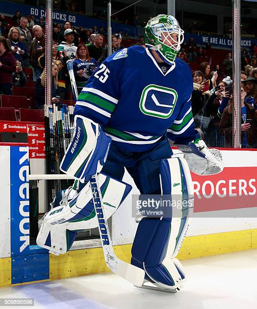 Jacob Markstrom of the Vancouver Canucks steps onto the ice during their NHL game against the Calgary Flames at Rogers Arena February 6 2016 in...