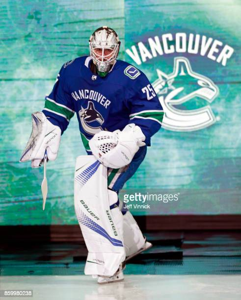 Jacob Markstrom of the Vancouver Canucks steps onto the ice during their NHL game against the Edmonton Oilers at Rogers Arena October 7 2017 in...