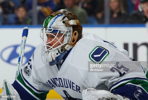 Jacob Markstrom of the Vancouver Canucks tends goal against the Buffalo Sabres during an NHL game at the KeyBank Center on February 12 2017 in...