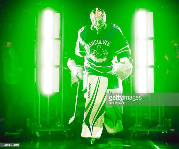 Jacob Markstrom of the Vancouver Canucks walks out to the ice during their NHL game against the Edmonton Oilers at Rogers Arena March 29 2018 in...