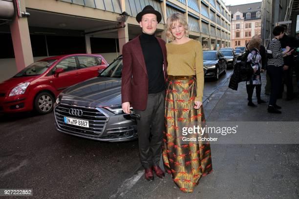 Jacob Matschenz and Bernadette Heerwagen during the 'Fuenf Freunde und das Tal der Dinosaurier' premiere at Mathaeser Kino on March 4, 2018 in...