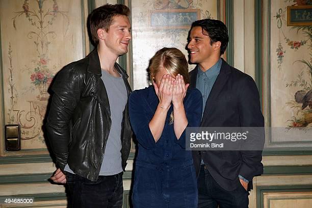 Jacob Matschenz Anna Maria Muehe and Kostja Ullmann attend the on set photocall for the film 'Mein Blind Date mit dem Leben' at Hotel Bayerischer Hof...