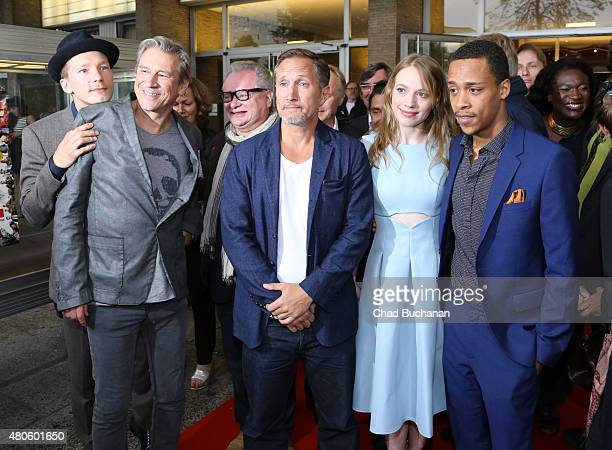 Jacob Matschenz Michael Kind Heinz Rudolf Kunze Benno Fuermann Anna Brueggemann and Jerry Hoffmann attend the German premiere of the film 'Heil' at...