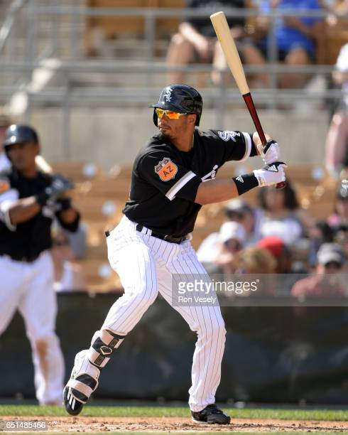 Jacob May of the Chicago White Sox bats during the spring training game against the Los Angeles Angels of Anaheim on March 4 2017 at Camelback Ranch...