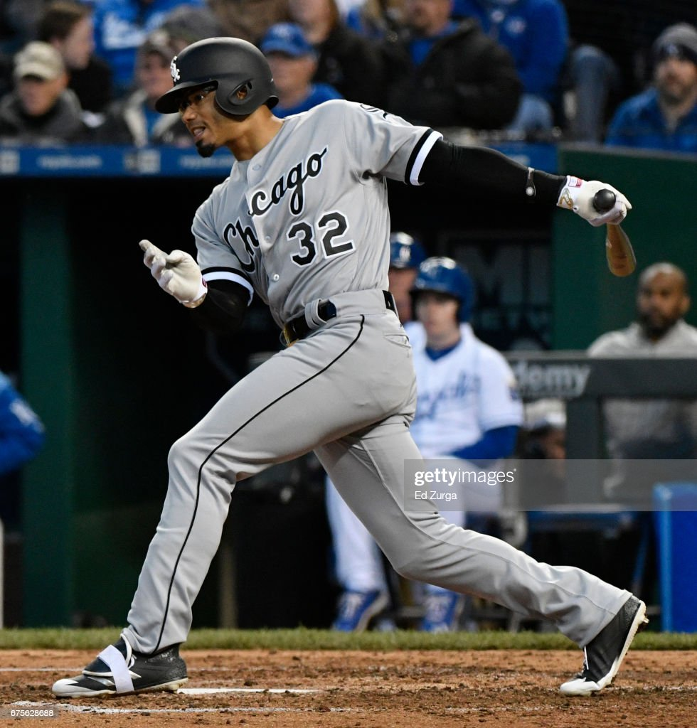 Jacob May #32 of the Chicago White Sox hits a RBI single in the fourth inning against the Kansas City Royals at Kauffman Stadium on May 1, 2017 in Kansas City, Missouri.
