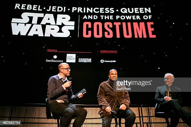 Jacob McMurray Billy Dee Williams and Anthony Daniels at Star Wars and the Power of Costume opening exhibit at EMP Museum at Seattle Center on...