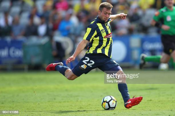 Jacob Melling of the Mariners in action during the round 16 ALeague match between the Central Coast Mariners and Melbourne City at Central Coast...