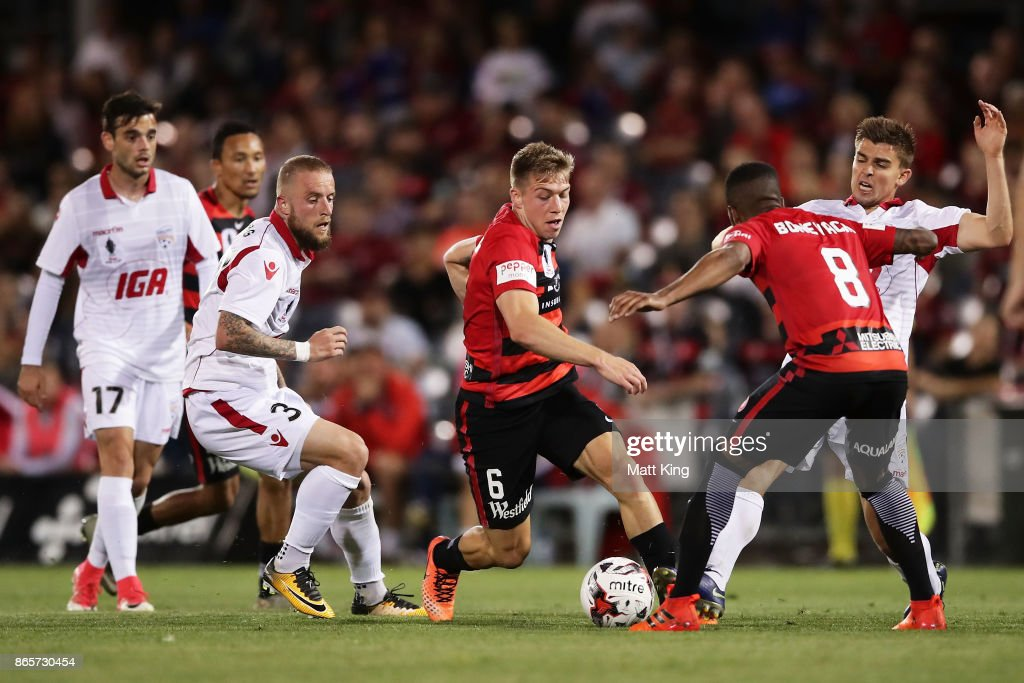 Jacob Melling of the Wanderers controls the ball during the FFA Cup Semi Final match between the Western Sydney Wanderers and Adelaide United at Campbelltown Sports Stadium on October 24, 2017 in Sydney, Australia.