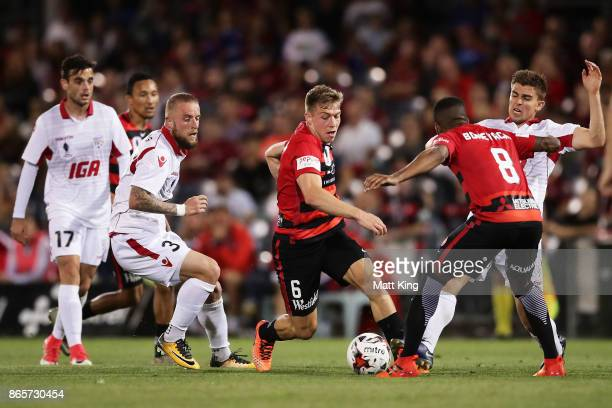Jacob Melling of the Wanderers controls the ball during the FFA Cup Semi Final match between the Western Sydney Wanderers and Adelaide United at...