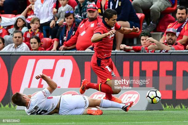 Jacob Melling of West Sydney Wanderers fouls Isaias of Adelaide United during the round eight ALeague match between Adelaide United and the Western...