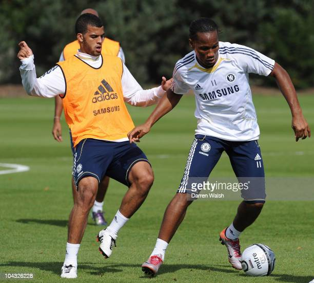 Jacob Mellis and Didier Drogba of Chelsea in action during a training session ahead of their third round Carling Cup match against Newcastle United...