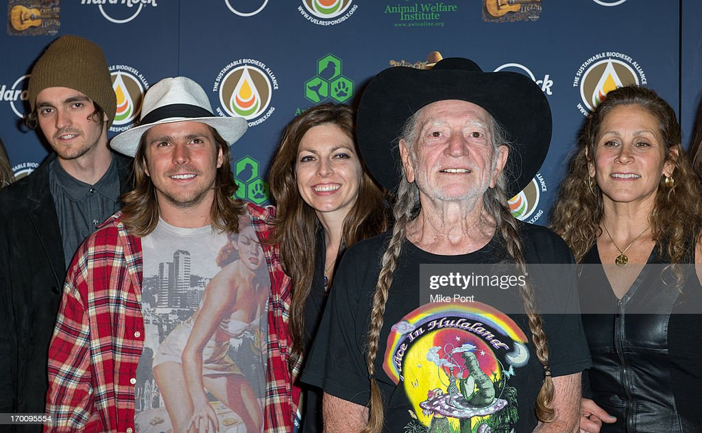 Jacob Micah Nelson, Lukas Nelson, Amy Nelson, Willie Nelson and Annie D'Angelo attend Hard Rock International's Wille Nelson Artist Spotlight Benefit Concert at Hard Rock Cafe, Times Square on June 6, 2013 in New York City.
