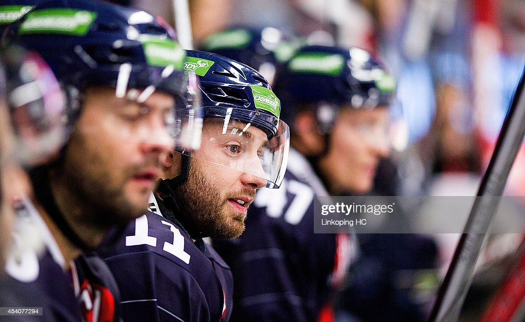 Jacob Micflikier #11 of Linkoping HC relaxes on the bench during the Champions Hockey League group stage game between Linkoping HC and HC Bolzano on August 24, 2014 in Linkoping, Sweden.