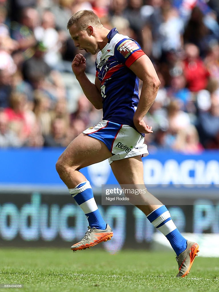 Jacob Miller of Wakefield Wildcats celebrates scoring the winning drop goal during the First Utility Super League match between Wakefield Wildcats and Catalans Dragons at St James' Park on May 22, 2016 in Newcastle upon Tyne, England.