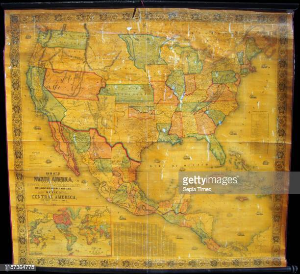 1854 Jacob Monk Wall Map of North America