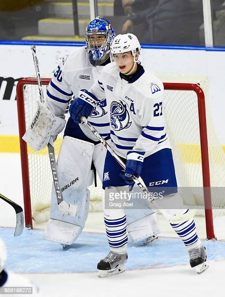Jacob Moverare and Emanuel Vella of the Mississauga Steelheads prepare for a shot against the Sudbury Wolves during CHL game action on October 6 2017...
