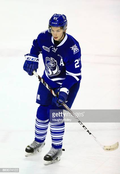 Jacob Moverare of the Mississauga Steelheads skates during an OHL game against the Niagara IceDogs at the Meridian Centre on November 25 2017 in St...