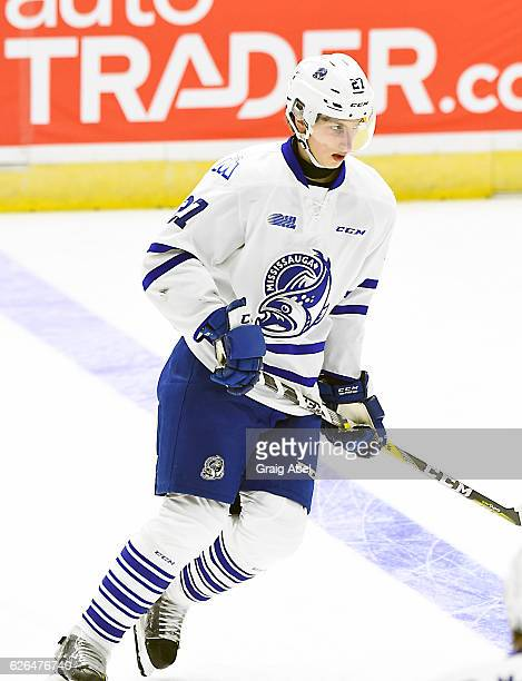 Jacob Moverare of the Mississauga Steelheads skates in warmup prior to a game against the of the Sault Ste Marie Greyhounds on November 25 2016 at...
