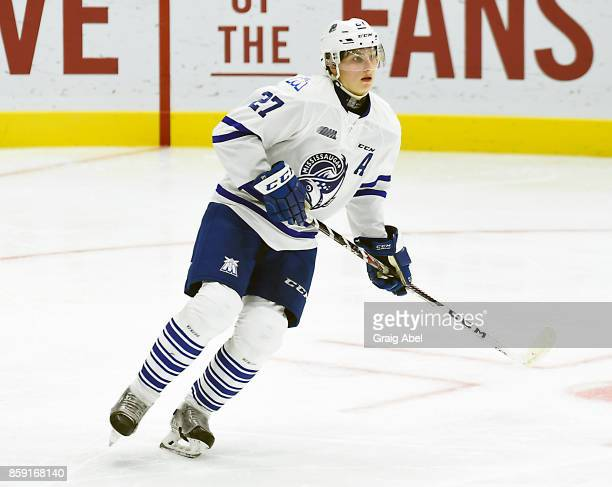 Jacob Moverare of the Mississauga Steelheads turns up ice against the Sudbury Wolves during CHL game action on October 6 2017 at Hershey Centre in...