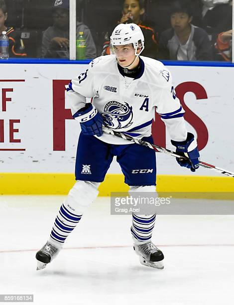 Jacob Moverare of the Mississauga Steelheads watches the play develop against the Sudbury Wolves during game action on October 6 2017 at Hershey...
