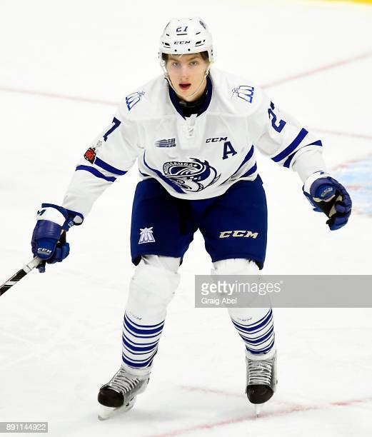 Jacob Moverare of the Mississauga Steelheads watches the play develop against the Hamilton Bulldogs during game action on December 10 2017 at Hershey...