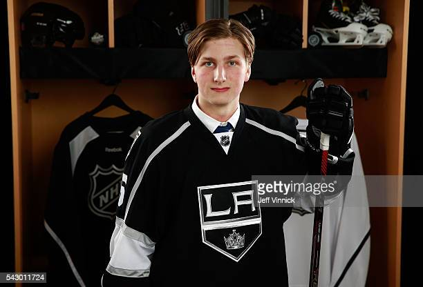 Jacob Moverare poses for a portrait after being selected 112th overall by the Los Angeles Kings during the 2016 NHL Draft at First Niagara Center on...