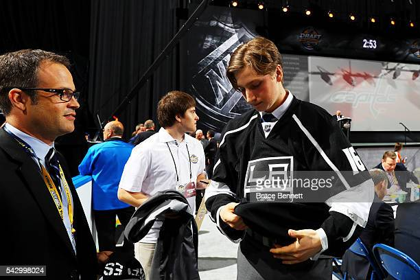 Jacob Moverare reacts after being selected 112th by the Los Angeles Kings during the 2016 NHL Draft on June 25 2016 in Buffalo New York