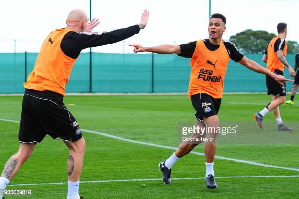 Jacob Murphy celebrates with Jonjo Shelvey during the Newcastle United Training Session at Hotel La Finca on March 17 i n Alicante Spain