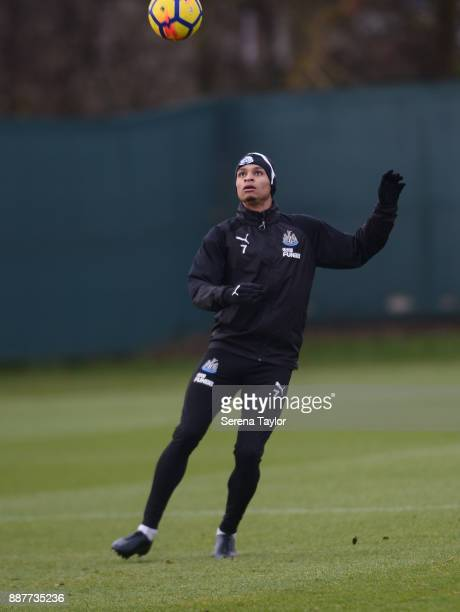Jacob Murphy controls the ball during a Newcastle United training session at the Newcastle United Training Centre on December 7 in Newcastle upon...