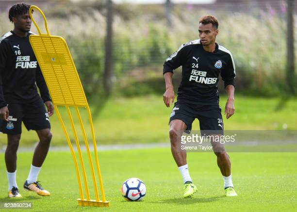 Jacob Murphy controls the ball during the Newcastle United Training session at the Newcastle United Training ground on July 28 in Newcastle upon Tyne...