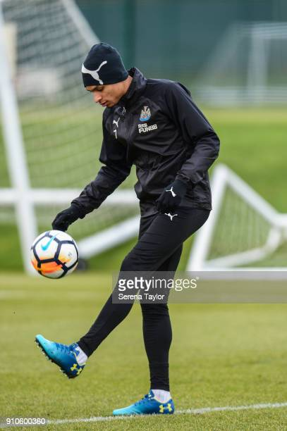 Jacob Murphy controls the ball during the Newcastle United Training session at The Newcastle United Training Centre on January 26 in Newcastle England