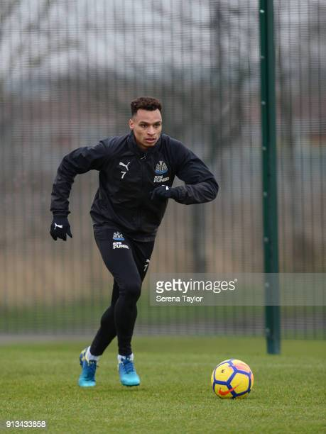 Jacob Murphy controls the ball during the Newcastle United Training session at the Newcastle United Training Centre on February 2 in Newcastle upon...
